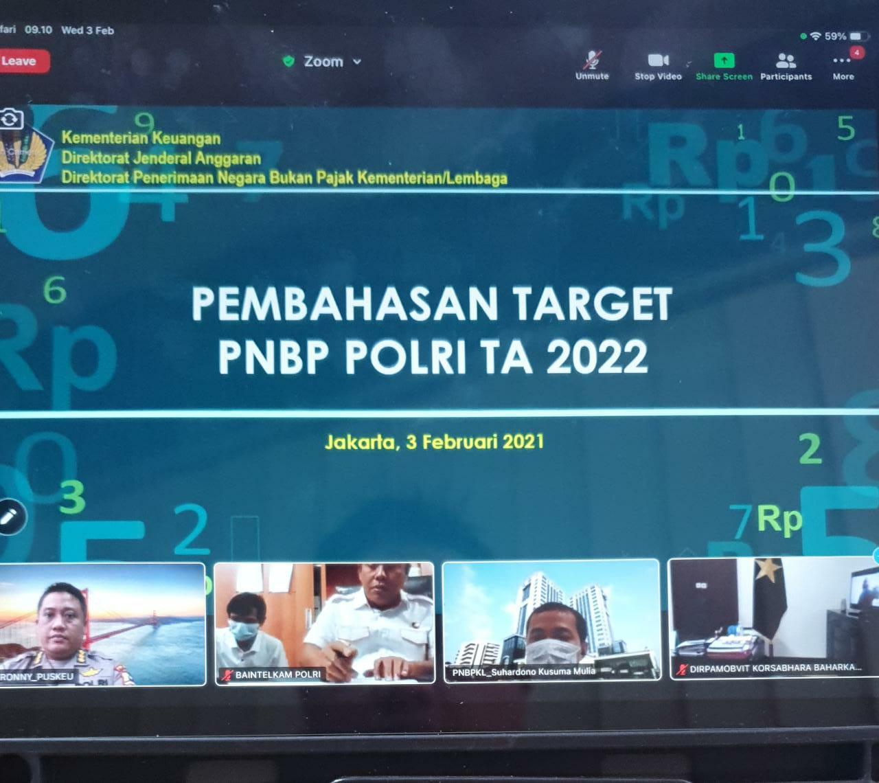 Rapat virtual pembahasan target APBN Polri TA. 2021