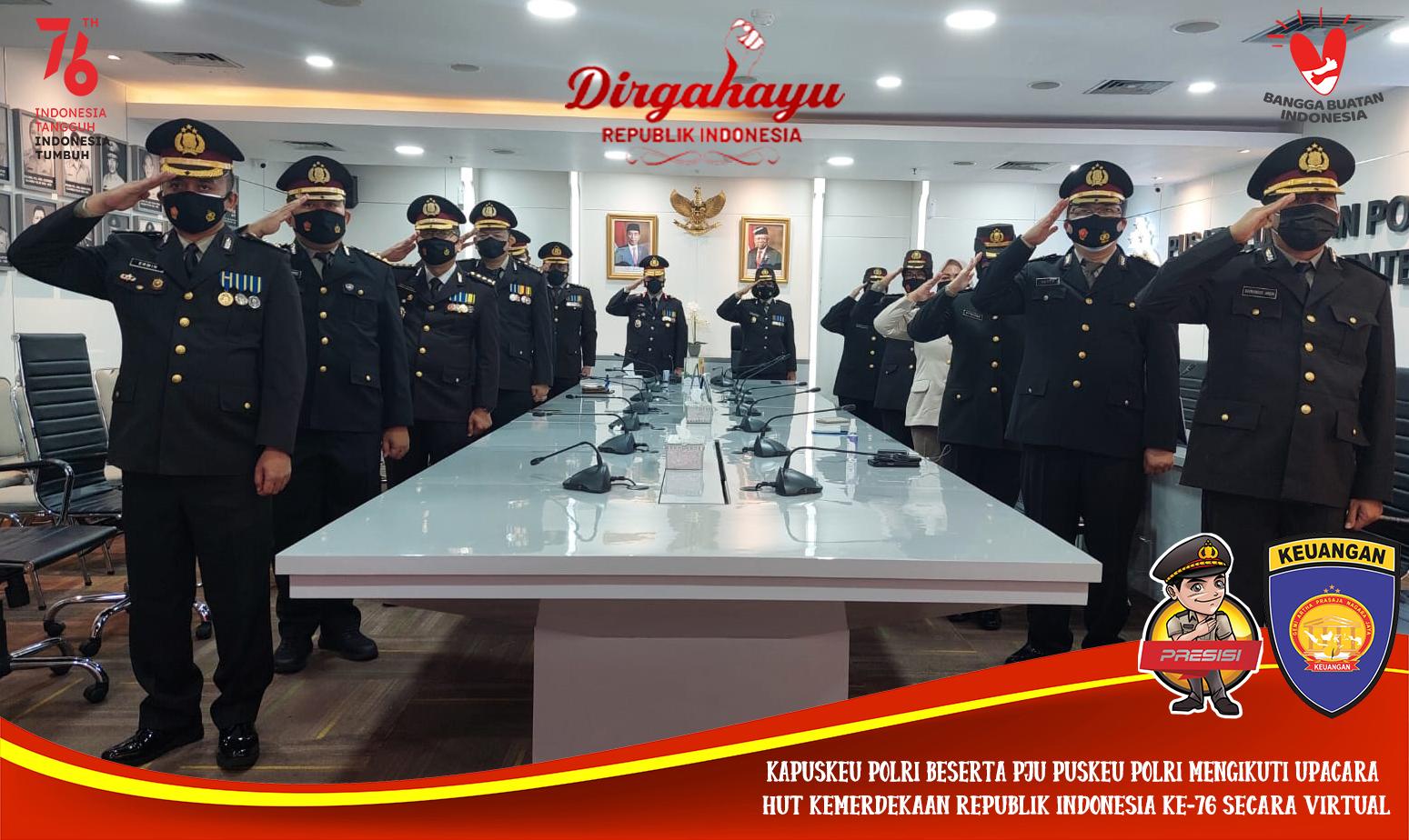 Puskeu Polri Melaksanakan Detik-detik Kemerdekaan Republik Indonesia ke 76 secara Virtual
